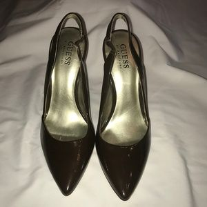 Guess sling back pumps/Brown patent, Size 7M